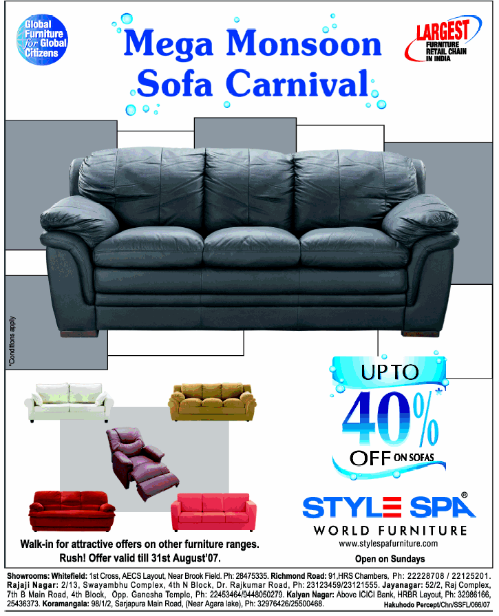 Incroyable STYLE SPA : UP TO 40% OFF ON SOFAS